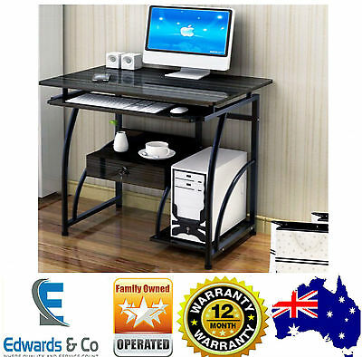 Computer Desk Office Table Corner Student Study Home Lamp Furniture Black Glass