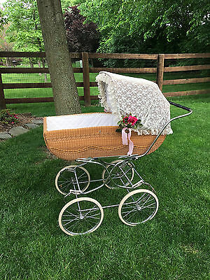 Vtg Full Size Wicker Pram Buggy for Baby Foldable Perego? you Ship/pick up