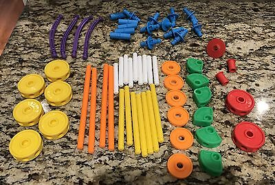 62 Piece Lot Of Tinkertoys Plastic Mixed  Pieces