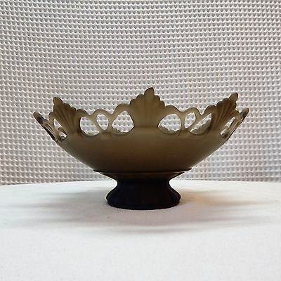 Vintage! Frosted Green Glass Dish