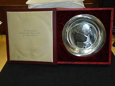 """1973 Franklin Mint 8"""" 5 Oz Sterling Silver Norman Rockwell 4Th Christmas Plate!"""