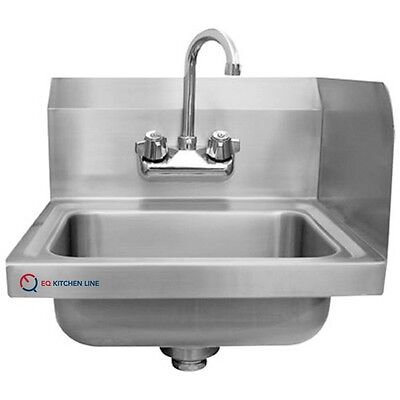 """EQ 1 Compartment Commercial Wall Mount Kitchen Sink Stainless Steel 12""""x16""""x13"""""""
