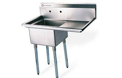 """EQ 1 Compartment Commercial Kitchen Sink Stainless Steel 24.5""""x19.5""""x43.75"""