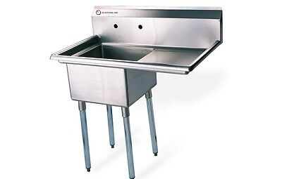 """EQ 1 Compartment Commercial Kitchen Sink Stainless Steel 28.5""""x19.5""""x43.75"""""""