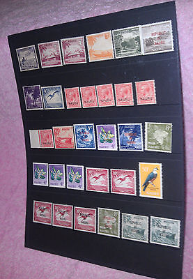 Hagner Sheet with 31 Nauru mint stamps, KGV 1 Penny overprints & many more