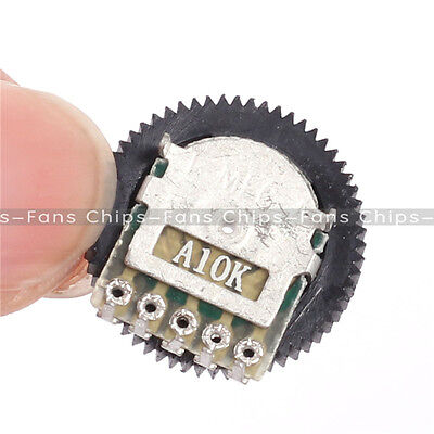 10PCS A103 10K Duplex Gear Potentiometer A10K 16x2mm 5pin for Radio MP3 MP4 UK