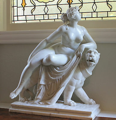 "Antique Carrara Marble Sculpture by BOYER ""ARIADNE ON THE PANTHER""-signed"
