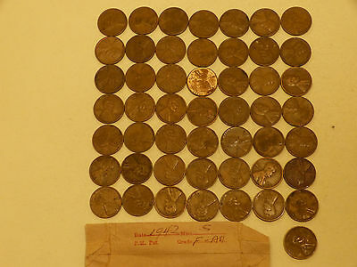 Full 50 pc Roll 1942-S Lincoln Cents circulated