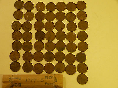 1944-S  Lincoln Cents circulated 50 pc roll