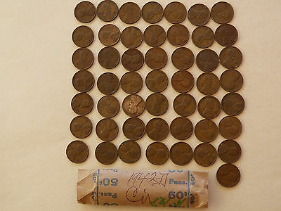 50 pc Roll 1942-D  Lincoln Cents circulated