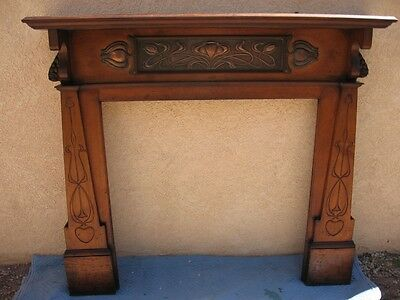 Monumental Art Nouveau Fireplace Mantel with Mirror, early 1900s, antique