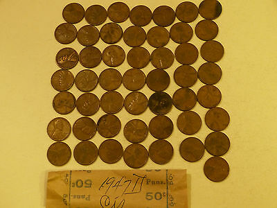 1947-D  Lincoln Cents circulated 50 pc roll