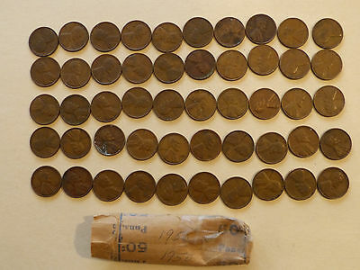 1950-P Lincoln Cents circulated  50 coins