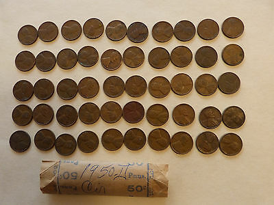 1950-D  Lincoln Cents circulated  50 coins