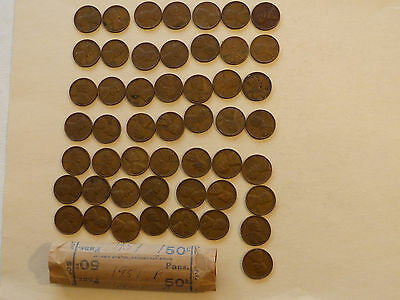 1951-P Lincoln Cents circulated  50 coins
