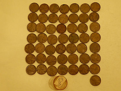 Full 50 pc Roll 1953-S Lincoln Cents circulated