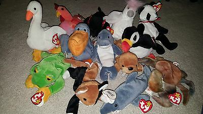 Ty Beanie Babies Lot Of 13 Rare 1995-1997, Great Condition Tags