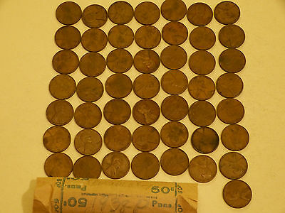 Full 50pc Roll 1938-P Lincoln Cents circulated