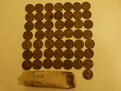 Full 50pc Roll 1957-P Lincoln Cents circulated