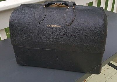 1940's EMDEE BY SCHELL BLACK LEATHER MEDICAL DOCTORS BAG FOLD OUT DRAWERS