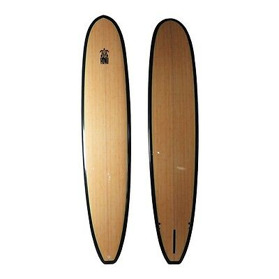 Longboard 9'6 + fins - Wooden Finish Epoxy