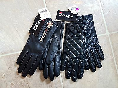 NWT Danier genuine Leather winter thinsulate gloves - 2 pairs lot  Small black S