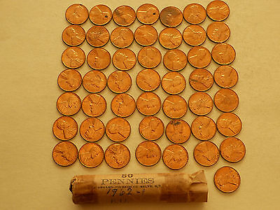 Full 50 pc Roll 1962-P Lincoln Cents   uncirculated