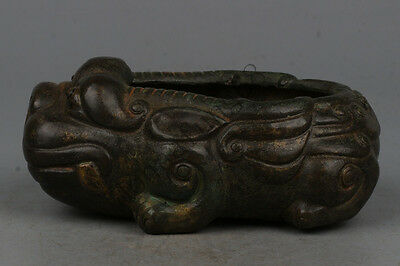 Chinese Exquisite Hand-carved beast carving bronze Pen wash