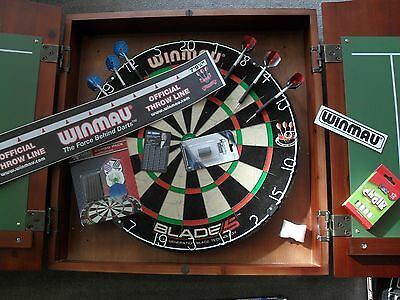 Winmau Blade 5 Dart Board and Redwood Stain Solid Wood Cabinet With Darts