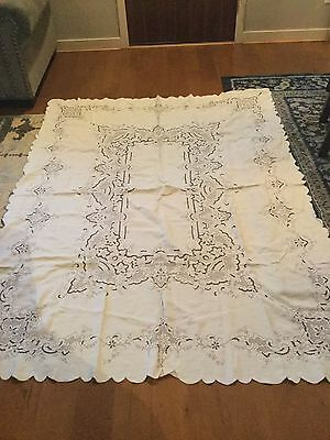 Antique Vintage off white linen tablecloth embroidery cutwork