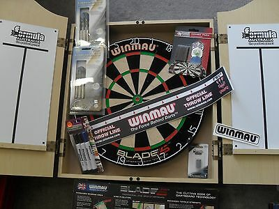 Winmau Blade 5   Dart Board and Formula Cabinet with white boards & Extras