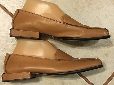 Womens' Cole Haan Tan Flat  Square Heel Leather Studio Loafers Sz 9 B
