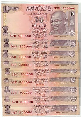 India 2010 10 Rupees Solid Fancy Numbers 100000-900000 @¥@
