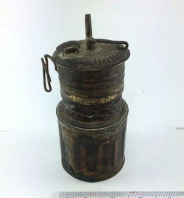 Antique Brass Lantern Auto Lite Coal Miners Lamp Dirty Old Untested Collection