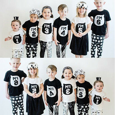 Kid Boys Girls T-shirt Toddler Top Siblings Family Matching Birthday Clothes New