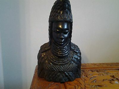 LARGE CARVED WOODEN AFRICAN CHIEF 1960's