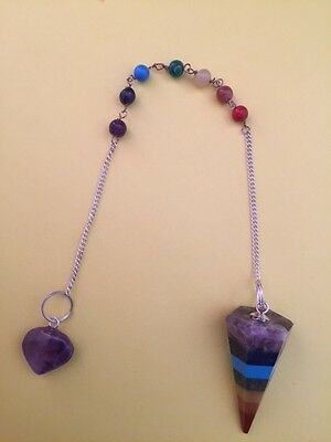Bonded Chakra Pendulum Necklace With Amethyst Heart- Healing- Answers Questions