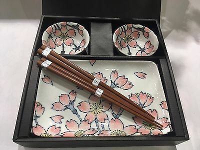 Japanese Sushi Plates Set Pink Cherry Blossom Ceramic Made in Japan NEW F/S