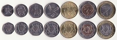 BOTSWANA, 5, 10, 25, 50 Thebe, 1, 2, 5 Pula 2013 UNC, Set of 7 Coins
