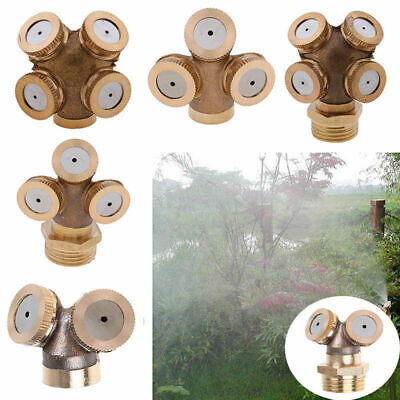 2-4 Hole Gold Brass Hose Pipe Fitting/ Garden Tap Spray Nozzle Mist For Cooling