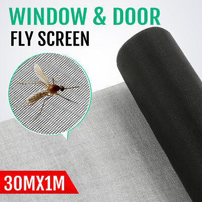 Black 100ft/30m Roll Insect Flywire Window Fly Screen PVC Net Mesh Screen
