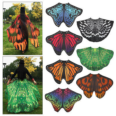 Fabric Women Wrap Shawl Stole Scarves Butterfly Wing Cape Beach Cover Up Costume