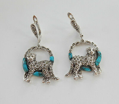 Art Deco Fine Sterling Silver Marcasite & Turquoise Cat Earrings Hallmarked