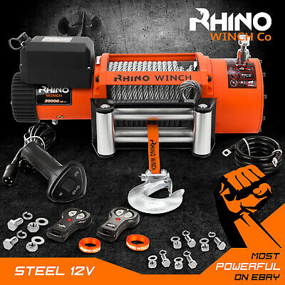 Rhino Electric Winch, 12v / 24v  20000lb Steel Cable Truck Recovery, Heavy Duty