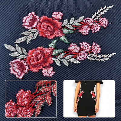 2pcs 29cm Rose Flower Embroidered Sew on Patch Applique Badge Dress Jeans Collar