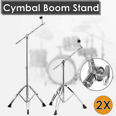 2X Adjustable Cymbal Boom Stand Heavy Duty Arm Chrome Tripod Stand Double Braced