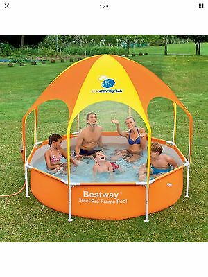 NEW! H2OGO! Splash-in-Shade Play Pool Orange Wading Pool with Sunshade 8-Feet