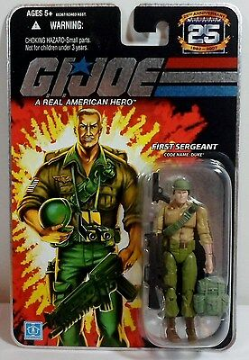 HASBRO GI JOE 2007 25th ANNIVERSARY FOIL SERGEANT DUKE V23 ACTION FIGURE MOSC