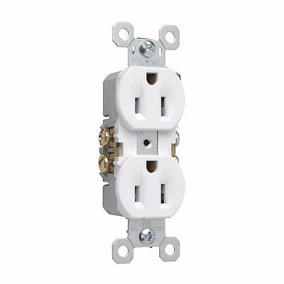 Pass & Seymour 3232W Pole 3 Wire Grounding Standard Duplex Outlet, 125V, 15-Amp