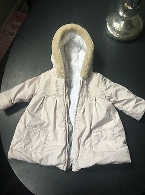 Baby Girls Burberry Pink Fur Lined Hooded Puffer Padded COAT Jacket. 9 Months.
